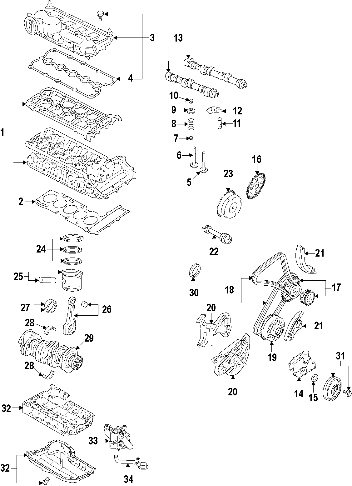Volkswagen Jetta Engine Timing Chain Guide Lower Right