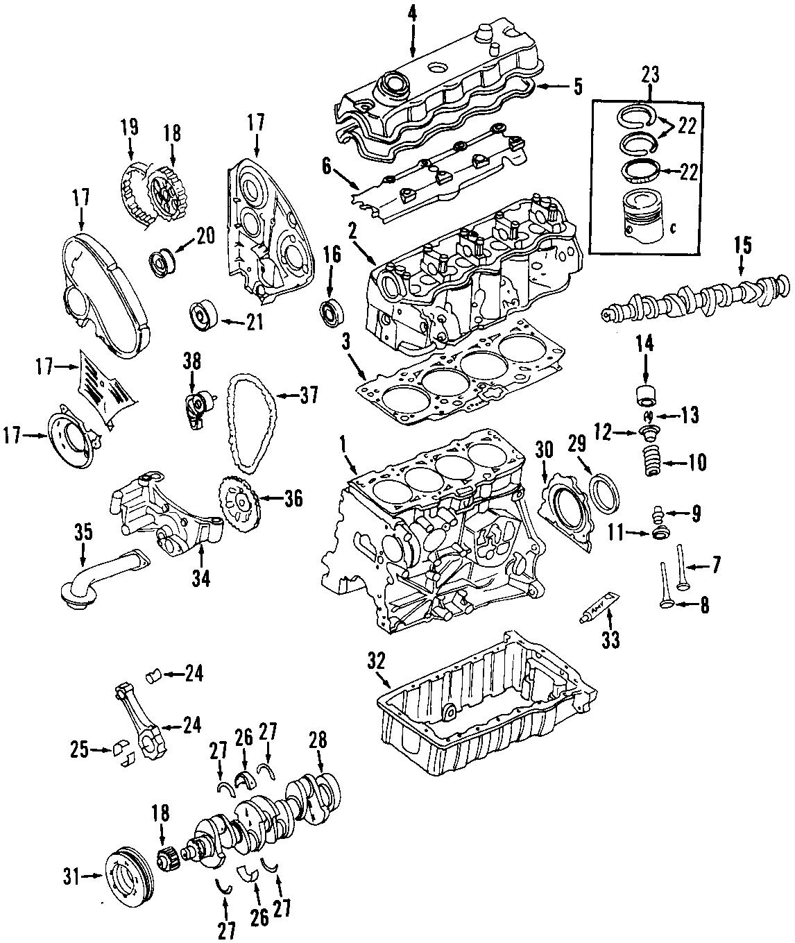 Volkswagen Beetle Engine Piston Ring Bearings Cylinder