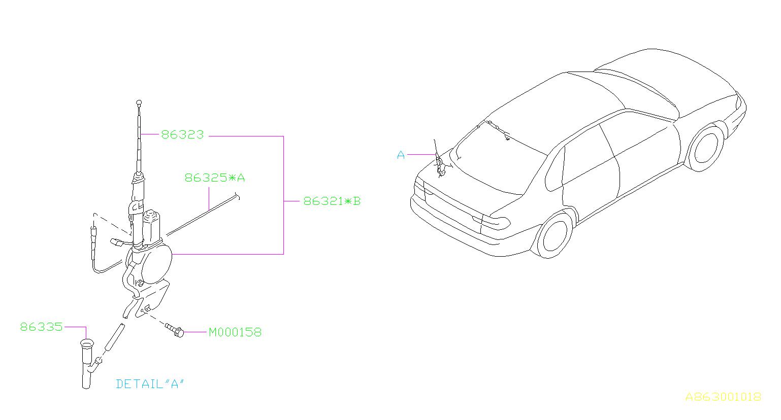 Subaru Legacy Cord Assembly Antenna Feeder