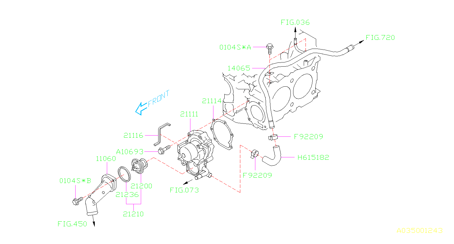 Subaru Legacy Thermo Assembly Water Pump Engine