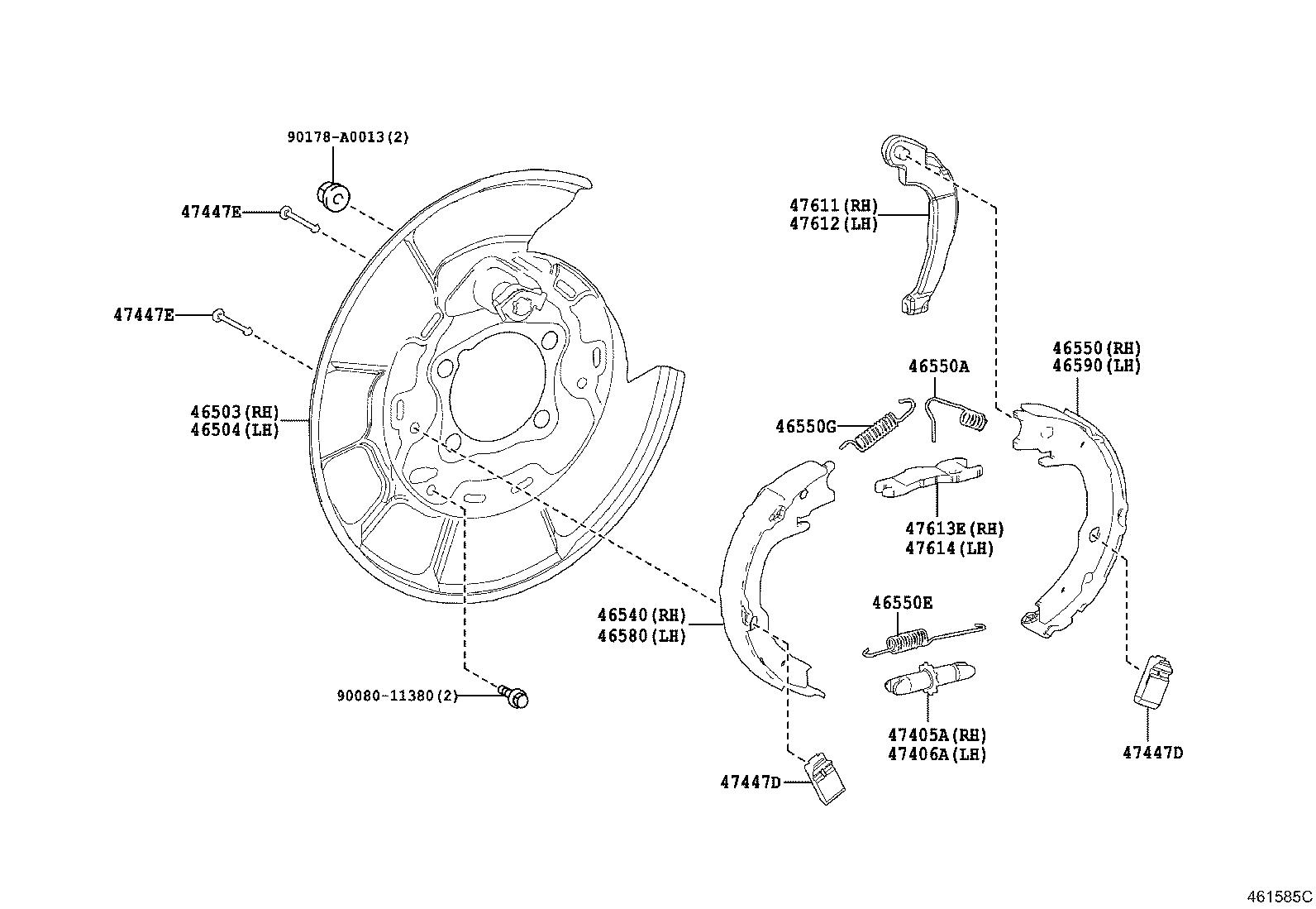 Toyota Camry Parking Brake Cable Replace Assembly