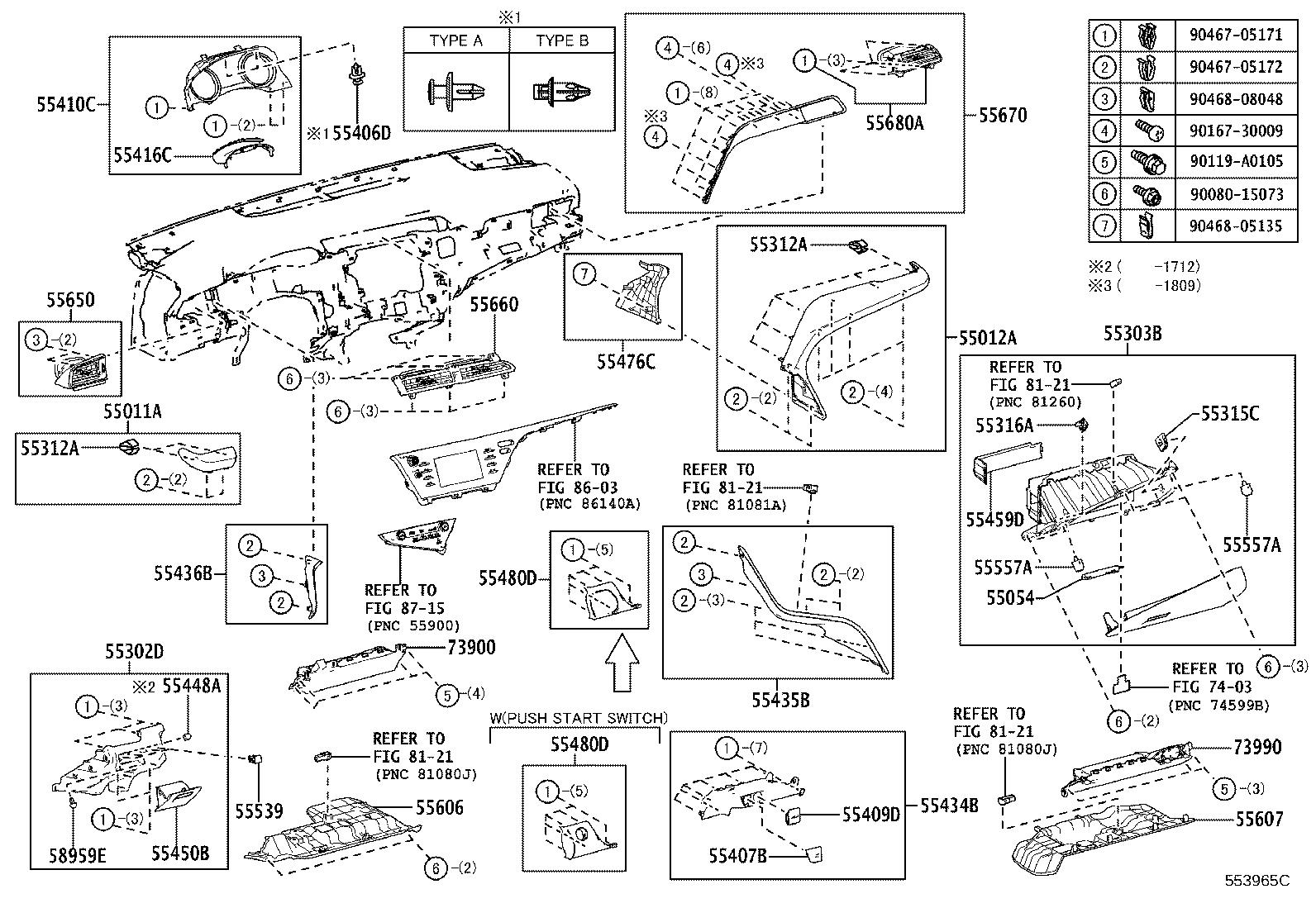 Toyota Camry Instrument Panel Side Cover Right