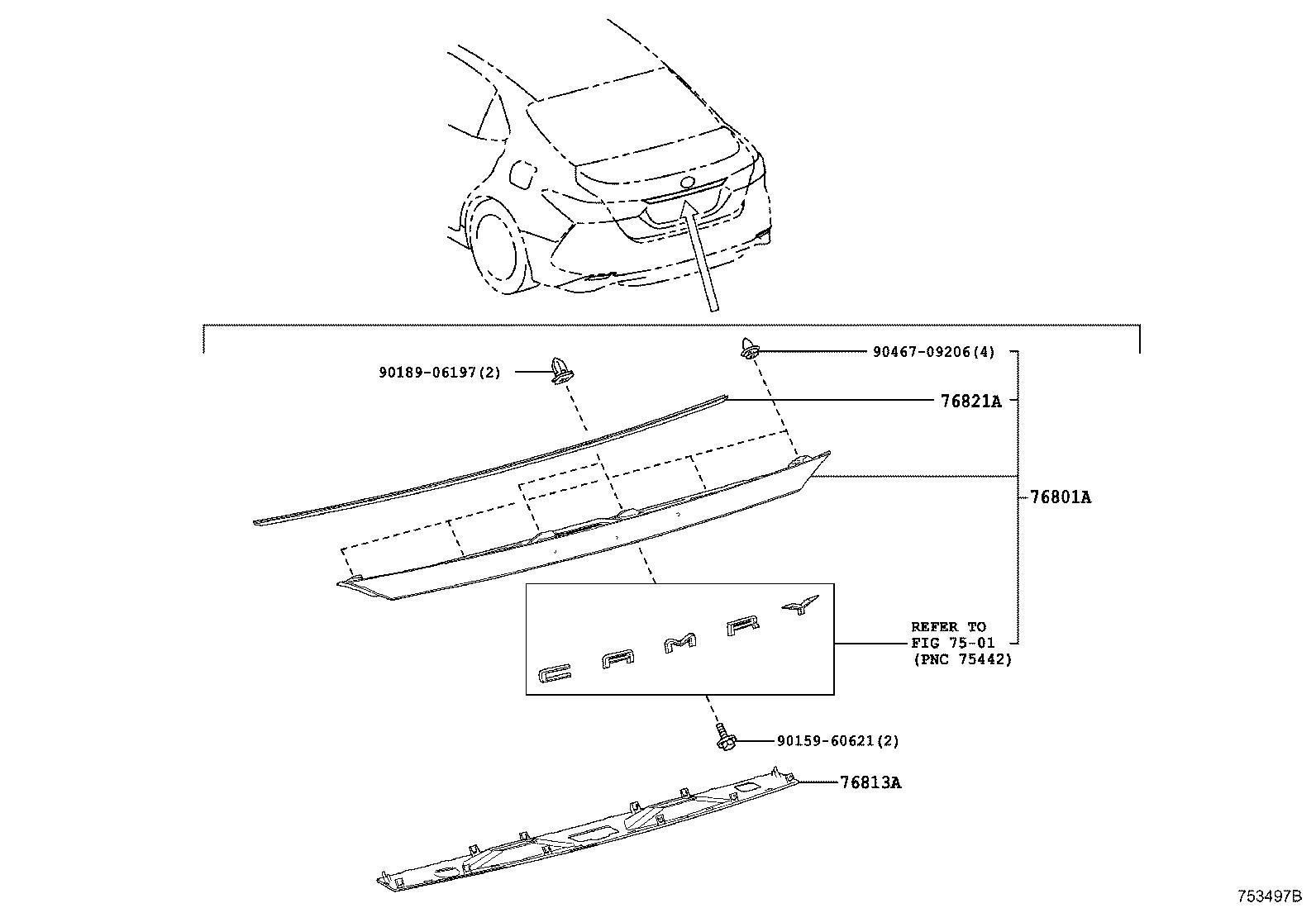 Toyota Camry Garnish Luggage Compartment Door