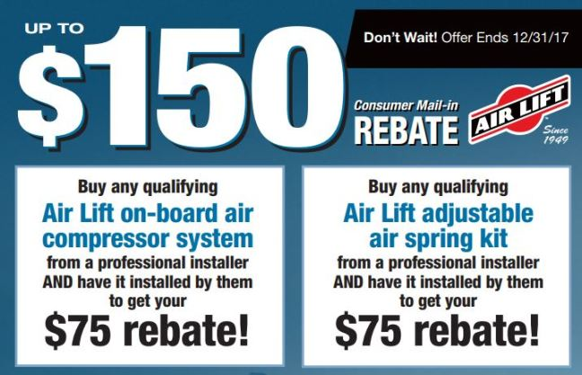 Air Lift: Get Up to a $150 Combined Rebate on Installed Air Compressors and Air Springs