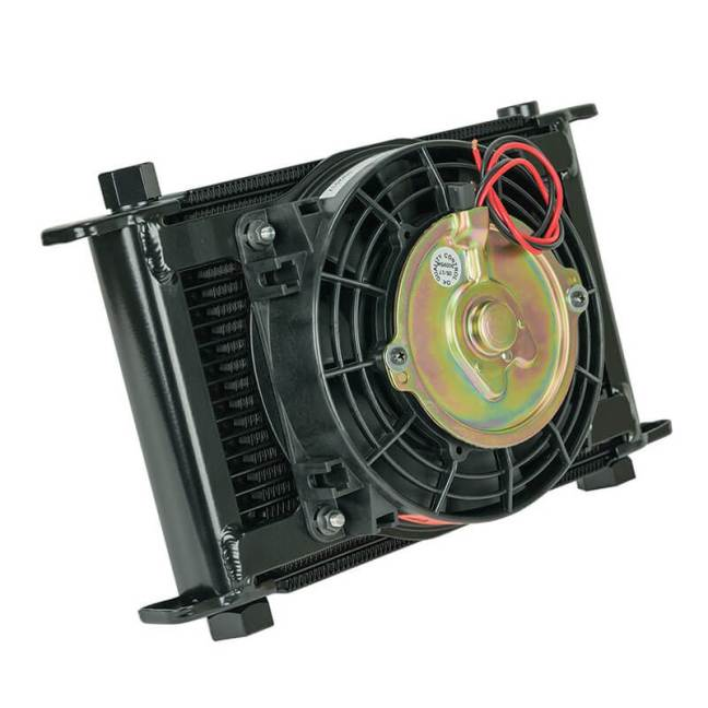 Flex-A-Lite (700021): Remote-Mount Stacked-Plate 21-Row Engine Oil Cooler with Electric Fan and AN Fittings