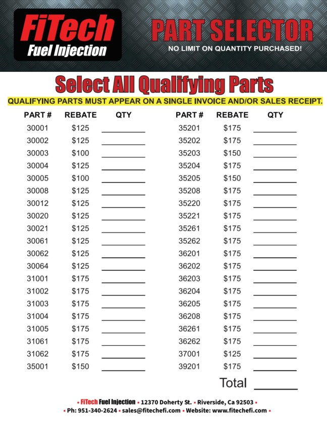 FiTech: 2020 Spring Break Rebate on Qualifying Parts—No Quantity Limit!