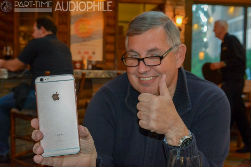 "Anthony Kershaw and his ""bro's gold"" iPhone"