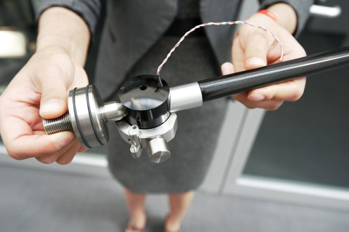 VPI Jane Weisfeld holding the JWM Fat Boy Tonearm