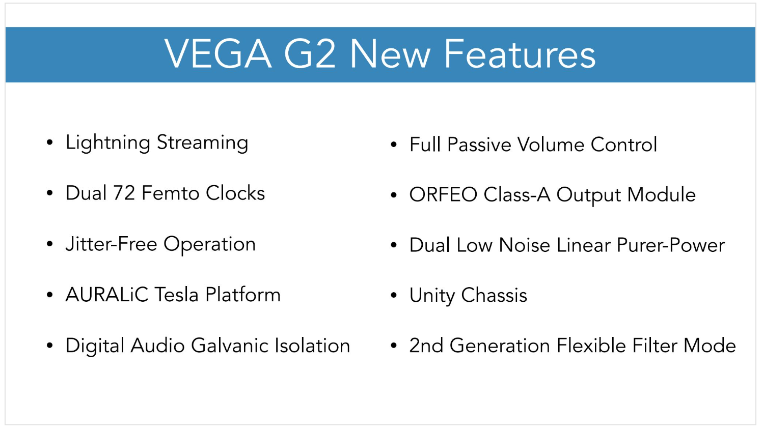 Auralic Vega G2 New Features