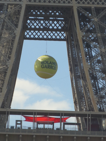 World's largest tennis ball at the Eiffel Tower, honoring the French Open