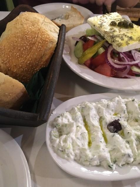 Tzatziki served with bread