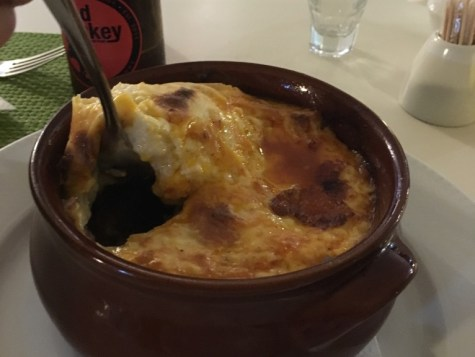 Moussaka at Avocado. (Moussaka is a traditional baked Greek dish with eggplant and potatoes in a cheesy meat sauce. A must try when in Greece!)