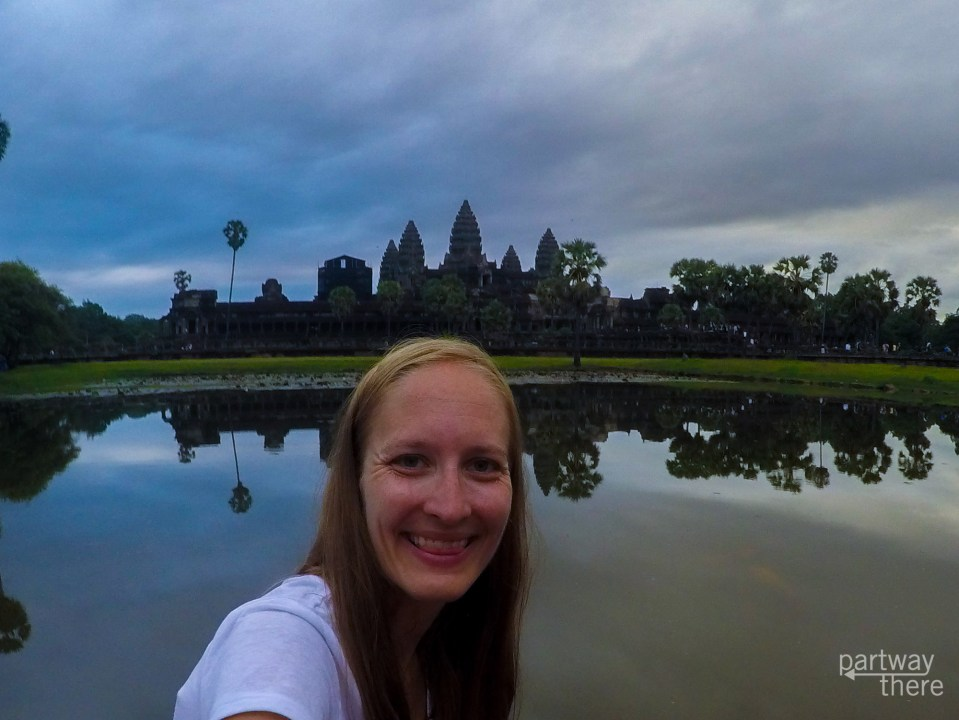 Amanda Plewes at sunrise in Angkor Wat in Cambodia.