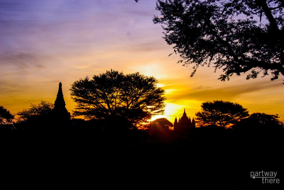 temples at sunrise in Bagan