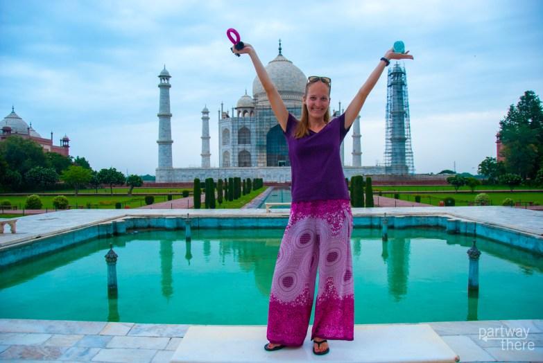 Amanda Plewes at the Diana bench at the Taj Mahal