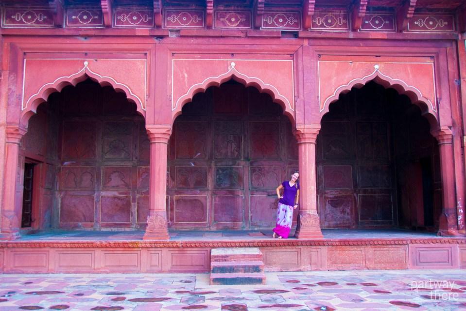 Amanda Plewes at the mosque at the Taj Mahal