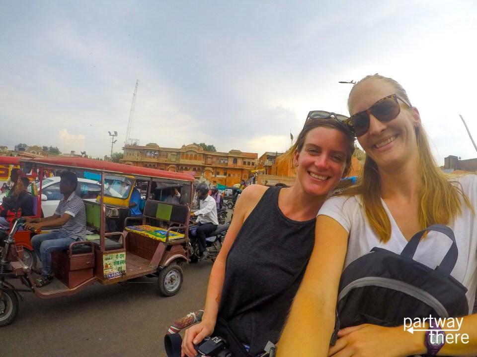 Amanda Plewes in a cycle rickshaw in Jaipur