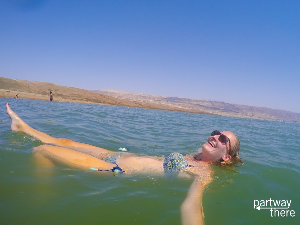 Amanda Plewes floating in the Dead Sea