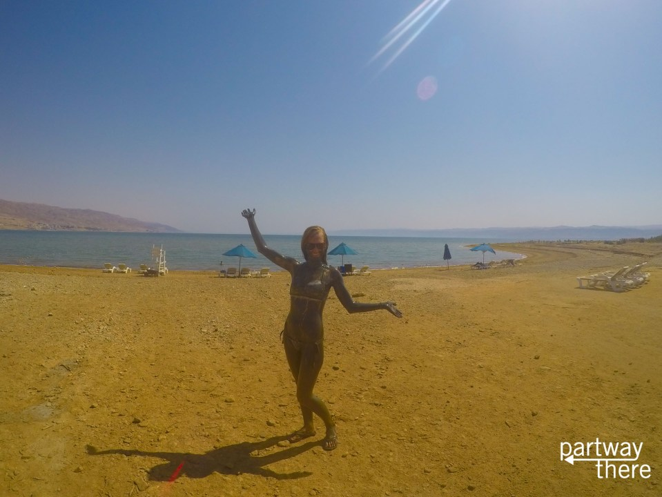 Covered in mud at the Dead Sea