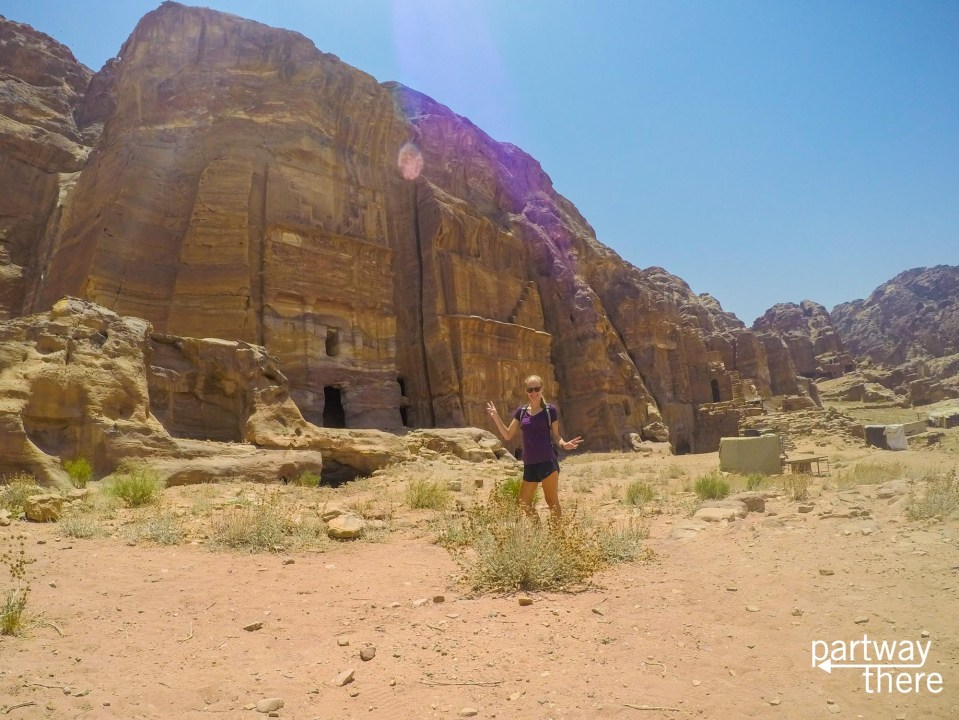 Amanda Plewes in front of the Royal Tombs in Petra