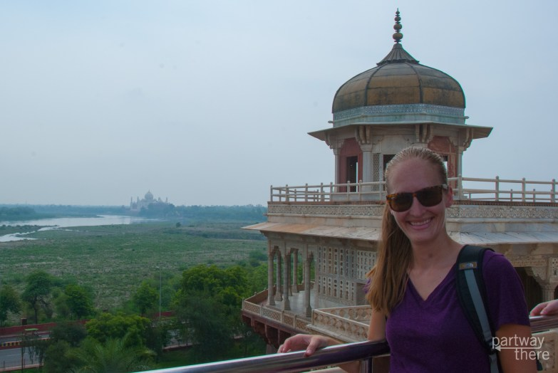 Amanda Plewes at Agra Fort with the Taj Mahal in the distance
