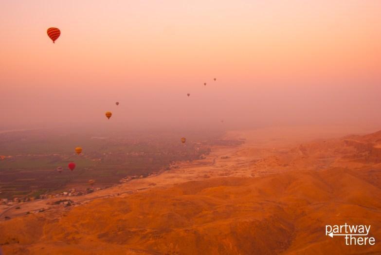Sunrise over the Nile and Luxor taken from a hot air balloon over the Valley of the Kings