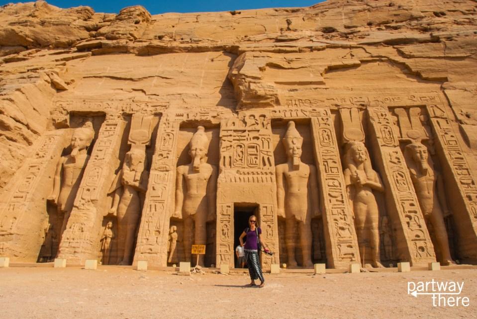 Amanda Plewes at Abu Simbel in long pants and a tshirt