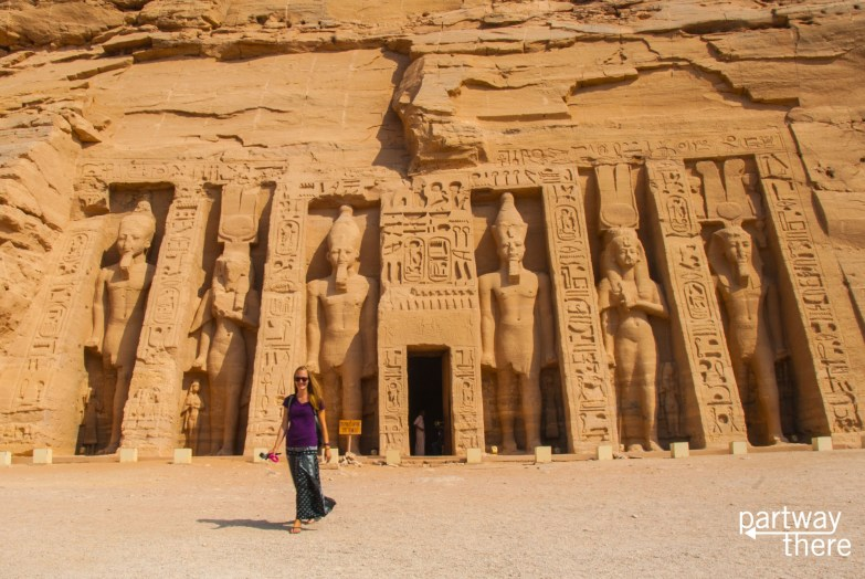 Amanda Plewes at the temple to Nefertari at Abu Simbel in Egypt