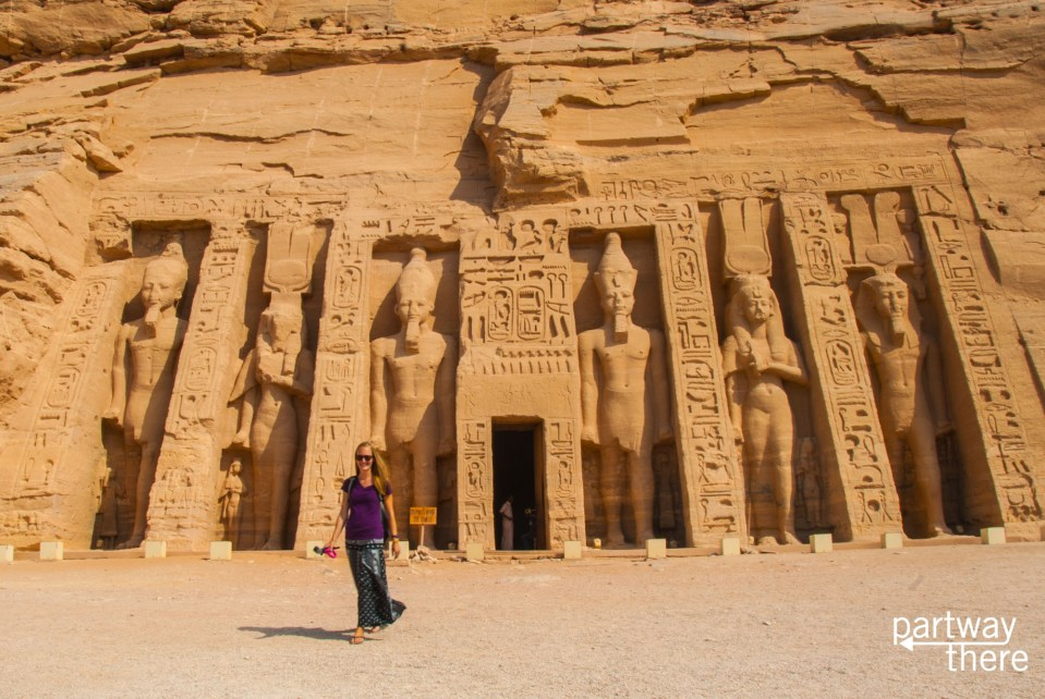 Amanda Plewes at the temple to Nefertari at Abu Simbel in Egypt