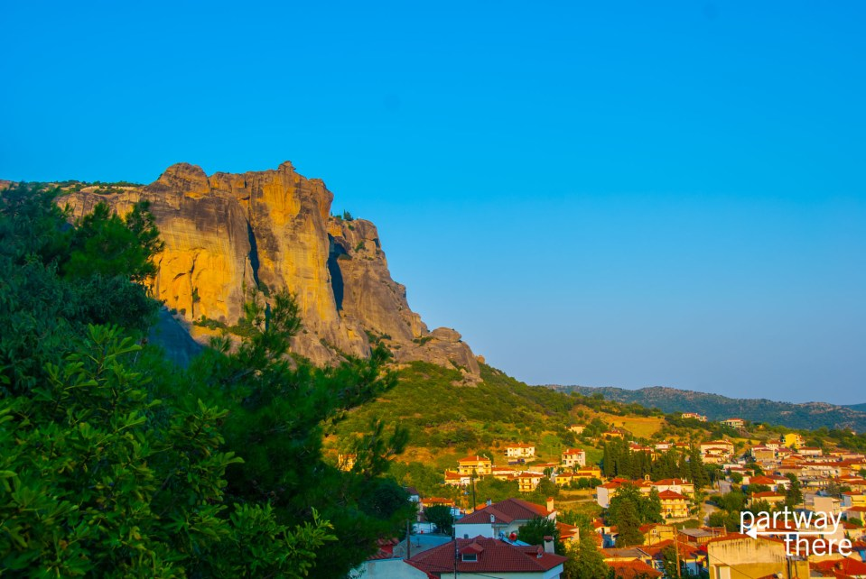 The cliffs around Meteora at Sunset