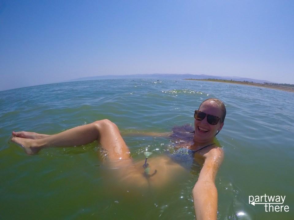 Amanda Plewes floating on the Dead Sea