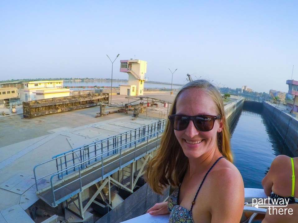 Going through the Esna locks on a Nile Cruise