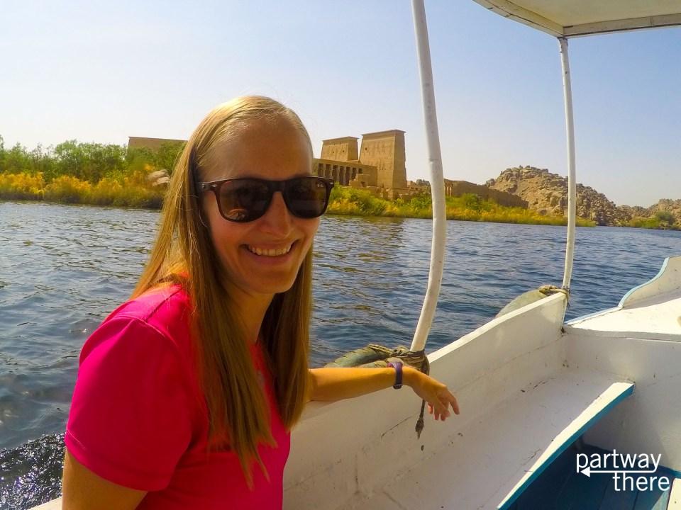 Amanda Plewes at Philae Temple in Aswan, Egypt
