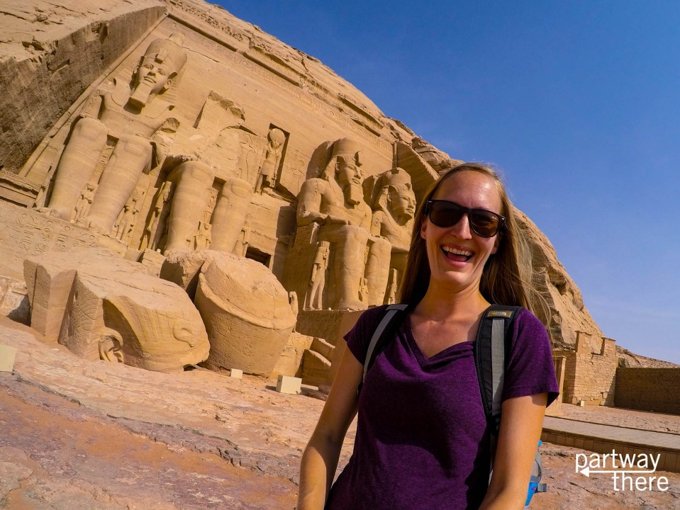 Amanda Plewes outside the temple of Ramses II at Abu Simbel in Egypt
