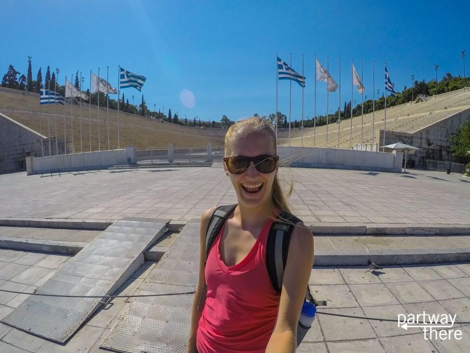 Amanda Plewes at the original Olympic Stadium in Athens