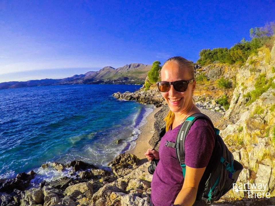 Amanda Plewes at the beach in Cavtat, Croatia