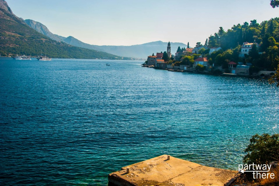 A beautiful town nestled next to the water on the island of Korcula, in Croatia.