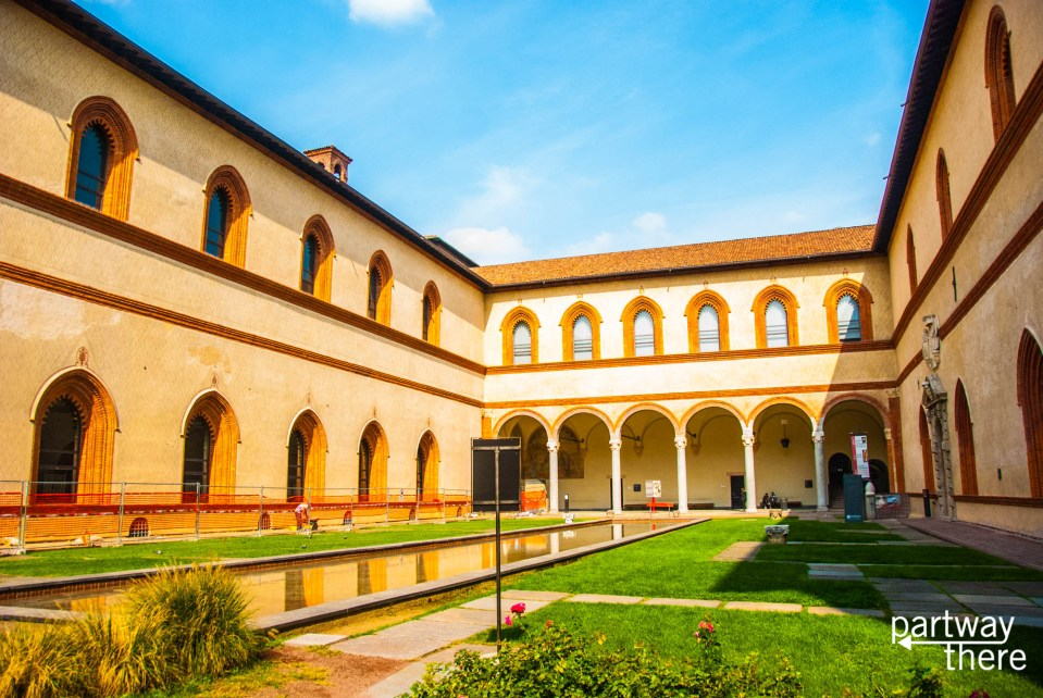 Inside Sforza Castle in Milan