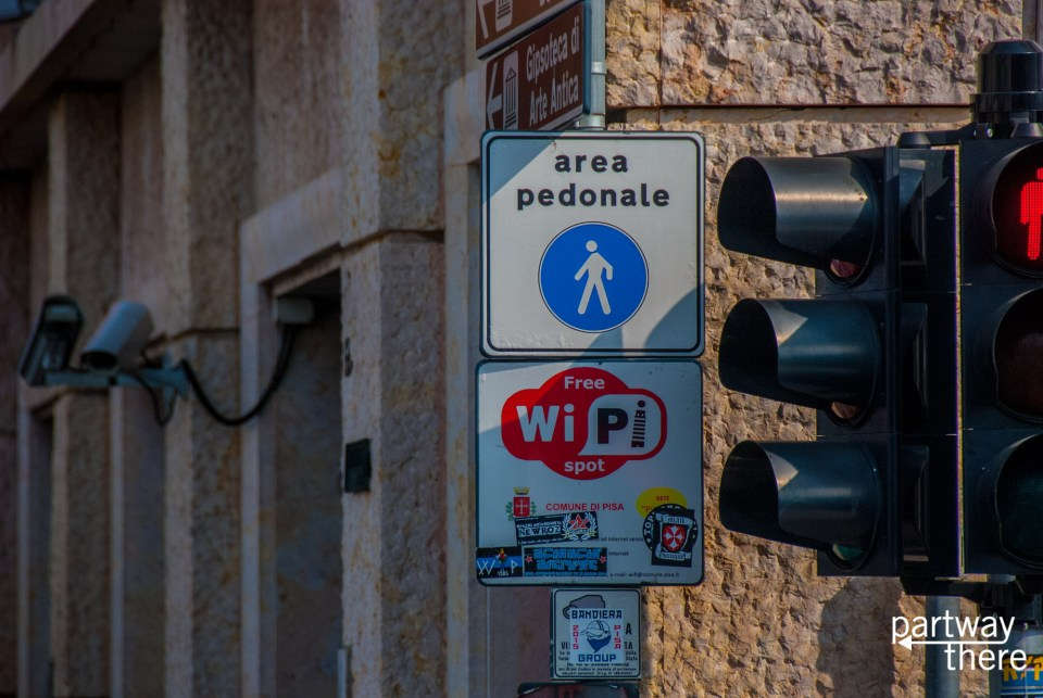 WiPi sign in Pisa advertising town's WiFi