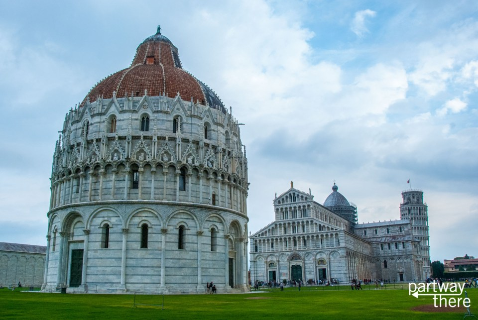 Full view of Pisa Cathedral, Baptistry, and Leaning Tower