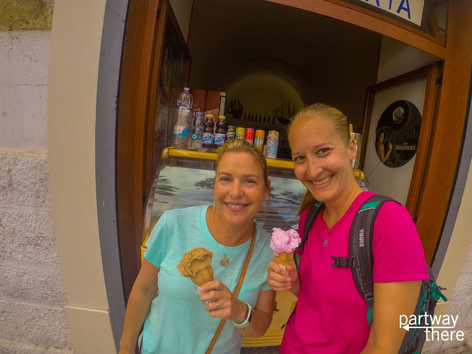 Trying gelato in Italy