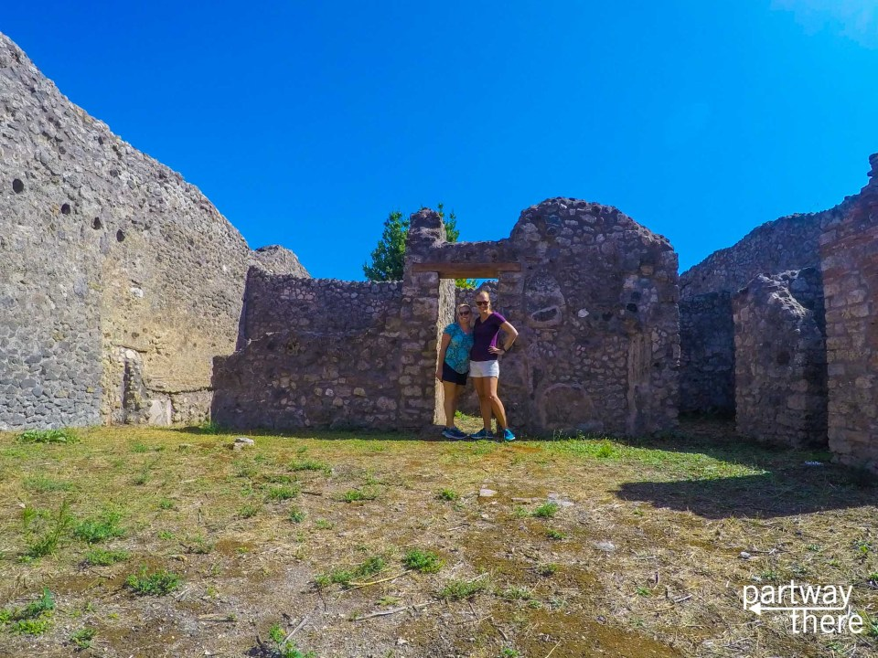 Amanda Plewes and her friend Holly visiting Pompeii, Italy