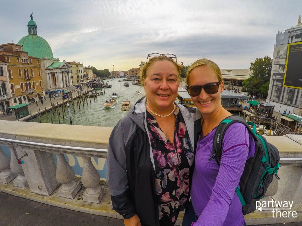 Amanda Plewes and Donna Plewes on Grand Canal in Venice, Italy