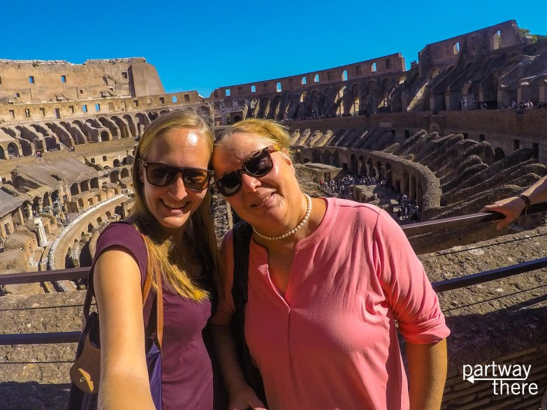 Donna Plewes and Amanda Plewes at the Colosseum in Rome, Italy