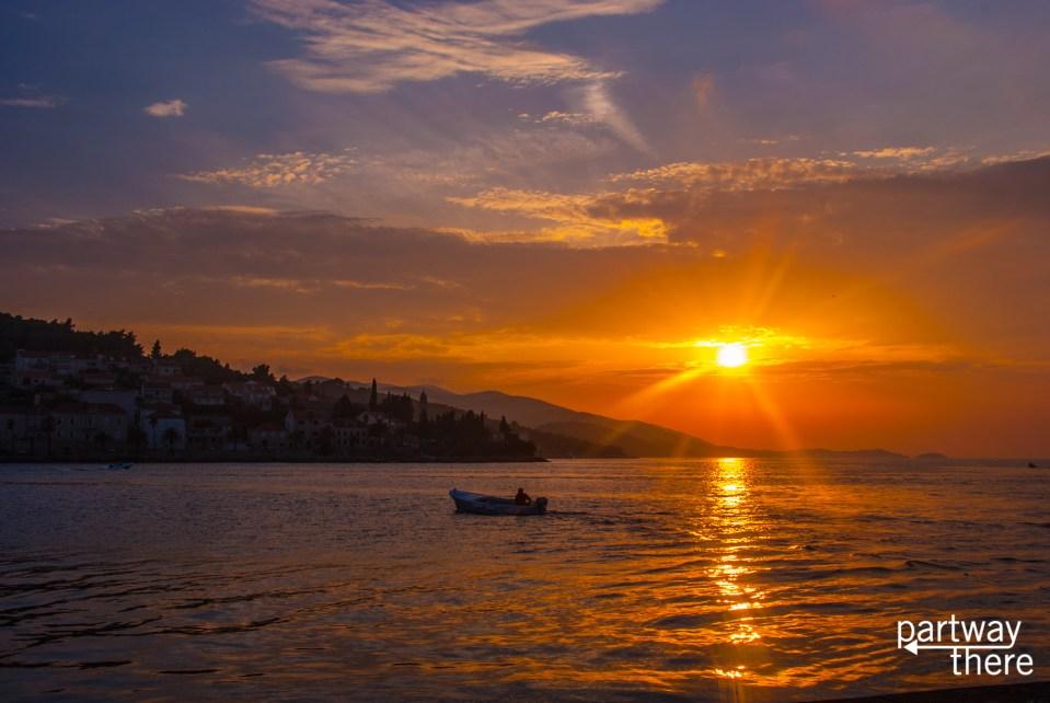 Sunset in Korcula, Croatia