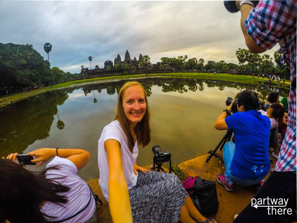 Sunrise Crowds at Angkor Wat, Cambodia make it difficult to get a good selfie