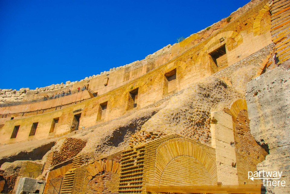 The walls inside the Colosseum in Rome, Italy