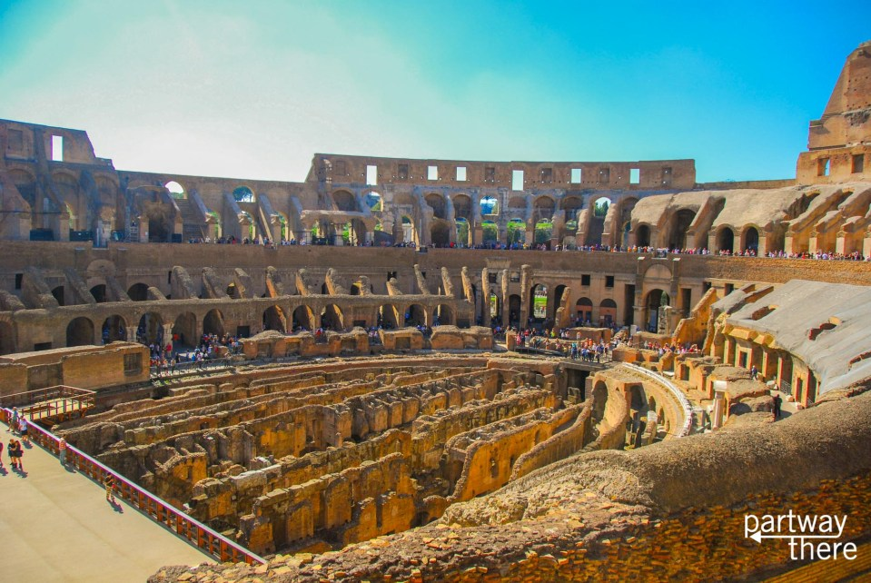 The inside of the Colosseum in Rome, Italy.