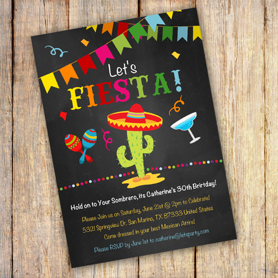mexican fiesta birthday invitation template edit with adobe reader