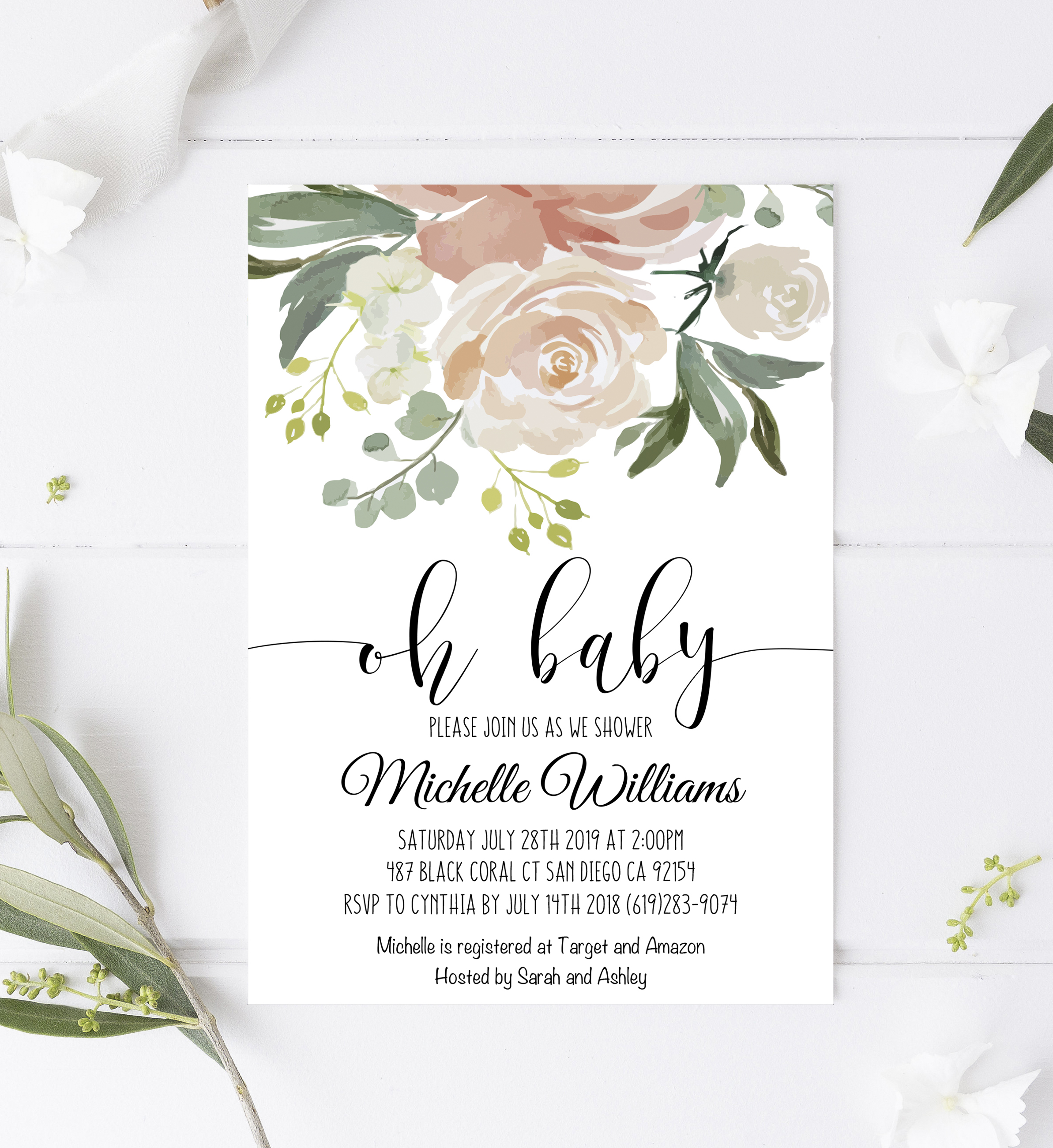 Greenery Baby Shower Invitation Templateparty Printables